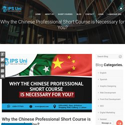 Why the Chinese Professional Short Course is Necessary for You?