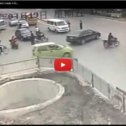 Chinese man with a scooter accident made ​​4 for 2 min