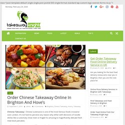 Order Chinese Takeaway Online In Brighton And Hove'S