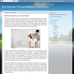 Effective Chiropractic Care In Des Moines