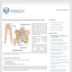 Study Shows Chiropractic Best Option for SI Joint Pain