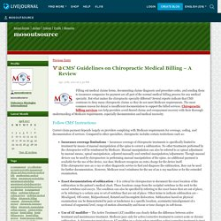 CMS' Guidelines on Chiropractic Medical Billing – A Review