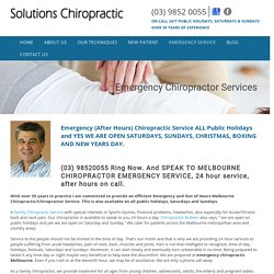 Emergency Chiropractor Melbourne