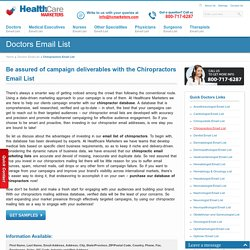 Chiropractors Email List : Mailing Addresses Database