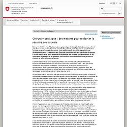 Chirurgie cardiaque : des mesures pour renforcer la sécurité des patients