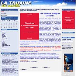 LA TRIBUNE DES ANTILLES 15/10/13 TGI-PARIS CHLORDÉCONE : LES EXPERTS CONFIRMENT L'HYPOTHÈSE AVANCÉE PAR BOUTRIN ET CONFIANT EN 2