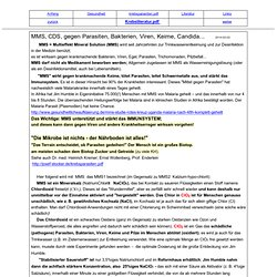MMS heilt Krebs, Cancer; Chlordioxid als Bakterienkiller; Candia,