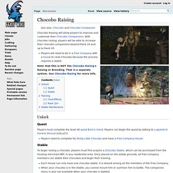 Chocobo Raising - Final Fantasy XIV A Realm Reborn Wiki - FFXIV / FF14 ARR Community Wiki and Guide