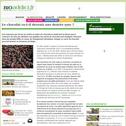 BIOADDICT 24/10/11 Le chocolat va-t-il devenir une denrée rare ?