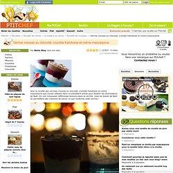 Verrine mousse au chocolat, crumble framboise et crème mascarpone