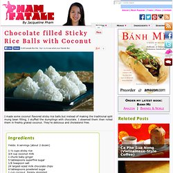 Chocolate filled Sticky Rice Balls with Coconut