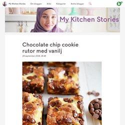 Chocolate chip cookie rutor med vanilj