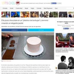 """Ella puso chocolate en un """"plástico de burbujas"""" y terminó creando un elegante pastel"""