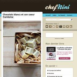 Chocolats blancs et son coeur framboise