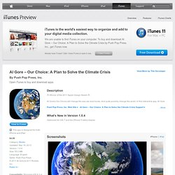 Al Gore – Our Choice: A Plan to Solve the Climate Crisis for iPhone 3GS, iPhone 4, iPhone 4S, iPod touch (3rd generation), iPod touch (4th generation) and iPad on the iTunes App Store
