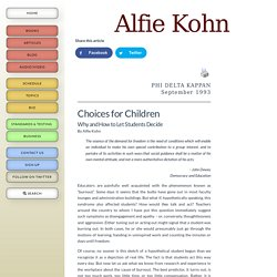Choices for Children: Why and How to Let Students Decide (*)