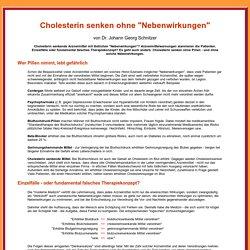 """Cholesterin senken ohne """"Nebenwirkungen"""". Dr. J. G. Schnitzer"""