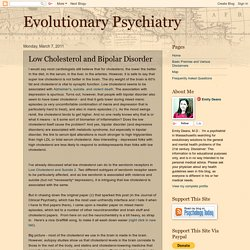 Evolutionary Psychiatry: Low Cholesterol and Bipolar Disorder