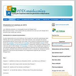 Cholestérol et statines en 2013 –