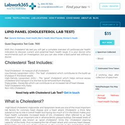 Lipid Panel (Cholesterol) Lab Test Without Doctor