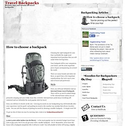 How to choose a travel backpack | Travel Backpacks