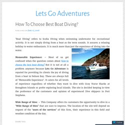 How to choose Best Boat Diving?