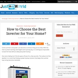 How to Choose the Best Inverter for Your Home?