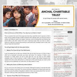 Anchal India - Sponsor a child for their better future: How to Choose a Child When You Sponsor a Child in India?