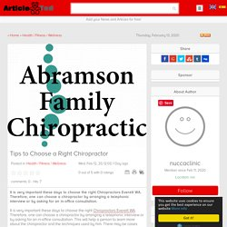 Tips to Choose a Right Chiropractor Article