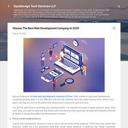 Choose The Best Web Development Company In 2020