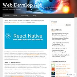Why Choose React Native For Hybrid App Development? « Web Develop Aid