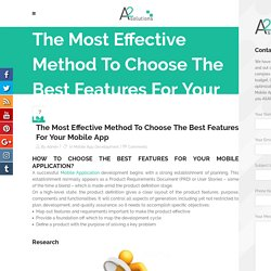 Choose The Best Features For Mobile Application