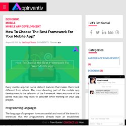 How To Choose The Best Framework For Your Mobile App? - AppInventiv