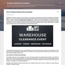 How to Choose Furniture Store Australia?