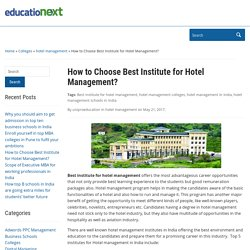 How to Choose Best Institute for Hotel Management?