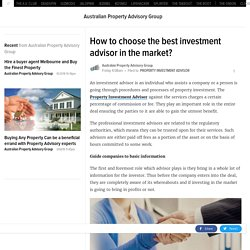 How to choose the best investment advisor in the market?
