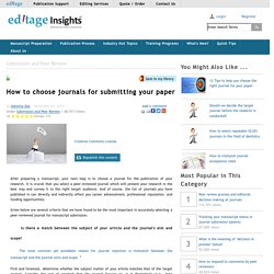 How to choose journals for submitting your paper
