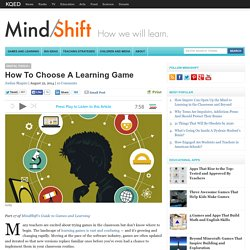 How To Choose A Learning Game
