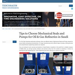 Tips to Choose Mechanical Seals and Pumps for Oil & Gas Refineries in Saudi