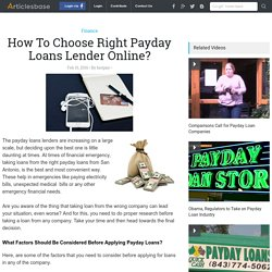 How To Choose Right Payday Loans Lender Online?