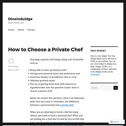 How to Choose a Private Chef