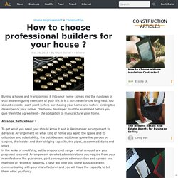 How to choose professional builders in Dartmouth for your house ?