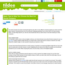 Basic Tips to Help You Choose the Best Car Rental Company on Tildee