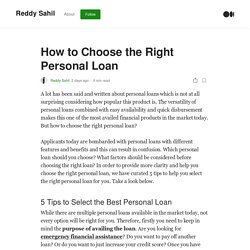 How to Choose the Right Personal Loan
