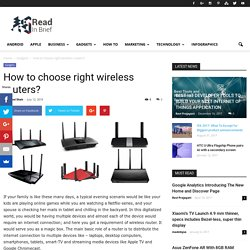 How to choose right wireless routers?