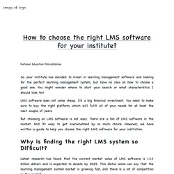 How to choose the right LMS software for your institute