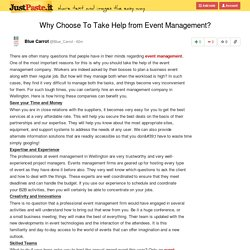 Why Choose To Take Help from Event Management?