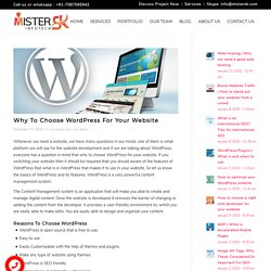 Why To Choose Wordpress For Your New Website