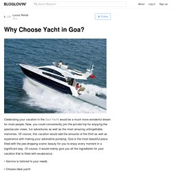 Why Choose Yacht in Goa?