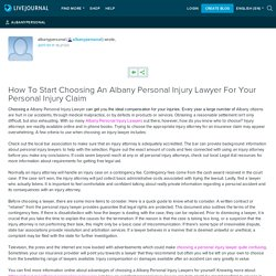 How To Start Choosing An Albany Personal Injury Lawyer For Your Personal Injury Claim: albanypersonal
